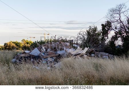 Collapsed House Full Of Rubble In The City