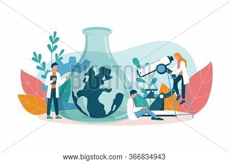 Ecologist Taking Care Of Earth And Nature Concept. Scientist Taking Care