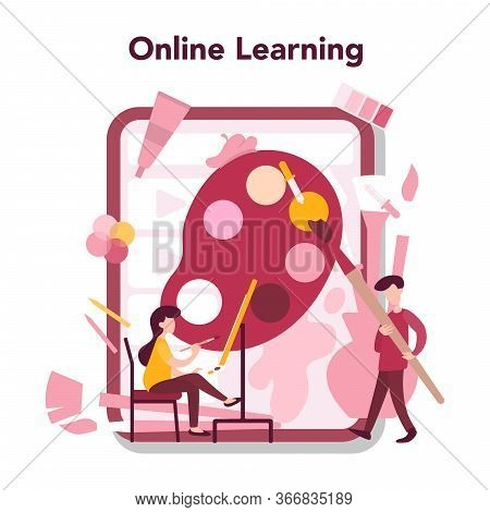 Art Online Education Concept. Male And Female Artist Standing In Front