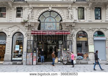 Istanbul, Turkey - May 13, 2020: Cicek Pasaji, Cite De Pera Is Closed In Istiklal Avenue During Coro