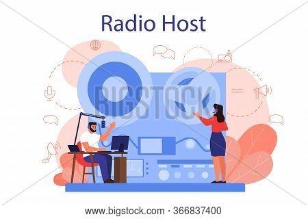 Radio Host Concept. Idea Of News Broadcast In The Studio.