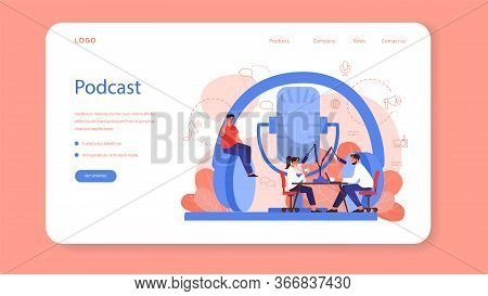 Radio Host Web Banner Or Landing Page. Idea Of News Broadcast