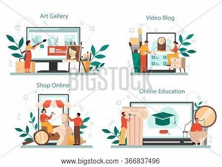 Restorer Online Service Or Platform Set. Artist Restores An Ancient