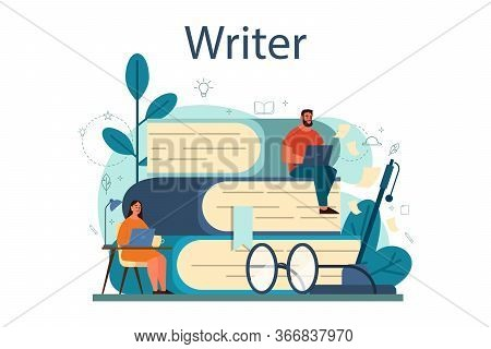 Professional Writer Or Journalist Concept Illustration. Idea Of Creative