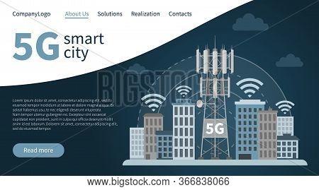 Landing Page 5g Innovative Smart City. Web Design Banner Concept Of Fifth Generation Base Station Ma