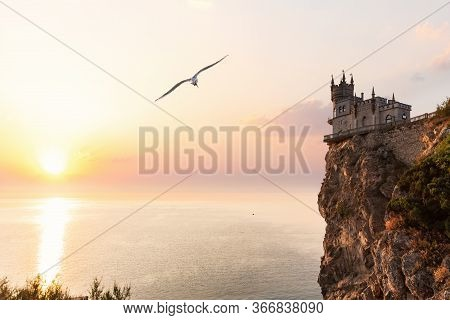 Sunset Over The Swallows Nest Castle, Crimea