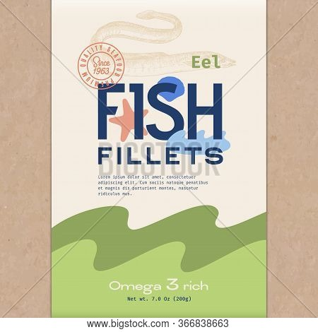 Fish Fillets. Abstract Vector Fish Packaging Design Or Label. Modern Typography, Hand Drawn Eel Silh