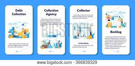 Debt Collector Mobile Application Banner Set. Pursuing Payment