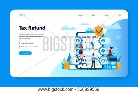 Tax Refund Web Banner Or Landing Page. Tax Declaration Approved.