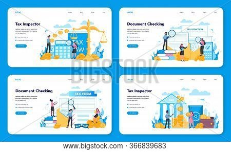 Tax Inspector Web Banner Or Landing Page Set. Idea Of Accounting