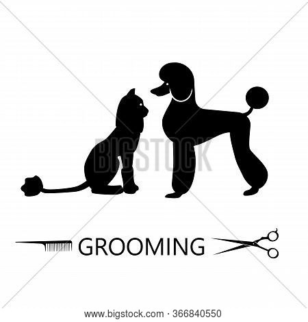 Silhouettes Of Dogs And Cats, Beautifully Trimmed. Pet Care, Grooming. Vector Illustration