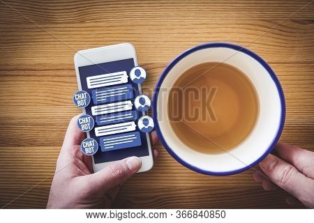 Chatbot Smart Phone Artificial Intelligence Communication Concept. Chatbot Is New Trend In B2c Commu