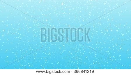 Lights On Blue Background. Abstract Blue Sky Background With Blur Bokeh Light Effect