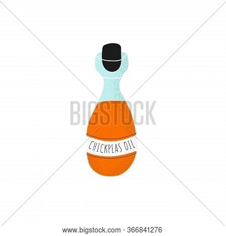 Glass Bottle With Chickpeas Oil On White Background. Gram Or Chickpea Liquid In Scandinavian Vector