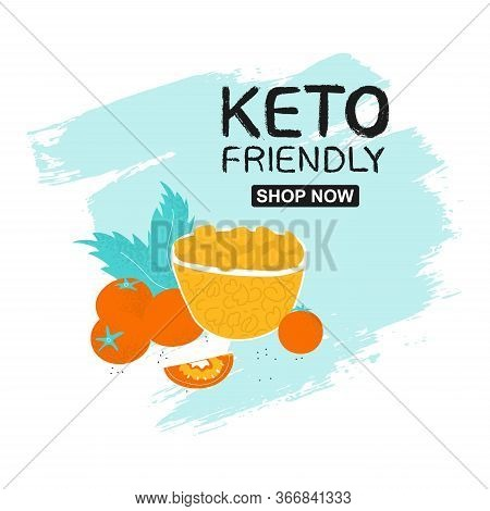 Keto Friendly Poster Template With Chickpeas Shop Now. Vector Gram In Scandinavian Style On Hand Dra