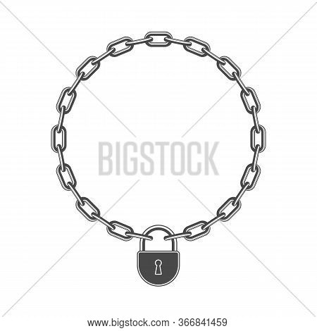 Chains Link With Lock. Padlock And Metal Chain Icon. Concept Of Protection Or Security. Vector Illus