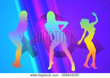 Illustration Of Dancing Girls Dancing, Illustration Of People Dancing In The Nightclub, Silhouette O