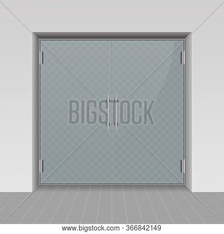 Glass Entrance Door In Realistic Style. Shopping Center Mall Entrance Automatic Doors Isolated On Tr