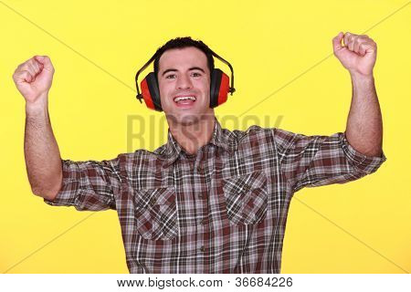 Tradesman cheering