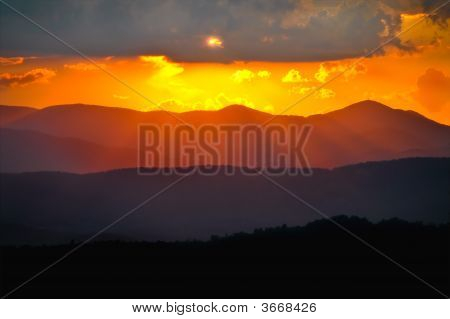 Blue Ridge Mountains Layered Sunset Rays