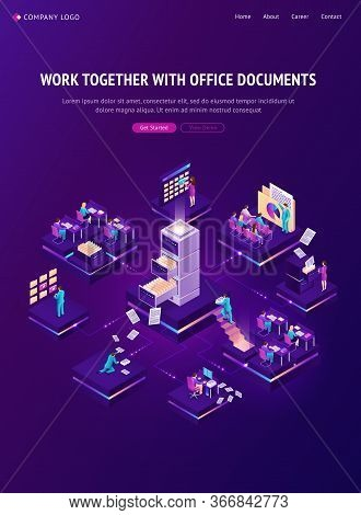 Work With Documents Isometric Landing Page, Office People Working With Archive And Database Around O