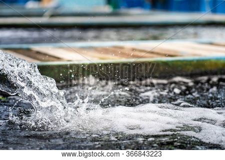 Water Flow Treatment System From The Water Pump Pipe.motion Of Water Gushing Out Of The Pipe From Ko