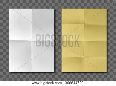 Folded Blank Paper Sheets Top View. Vector Realistic Mockup Of White And Yellow Paper With Crossing