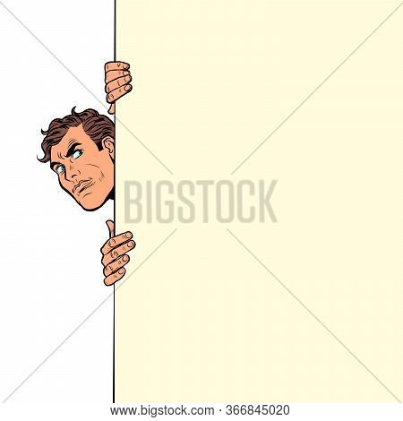 The Man Looks Out Curiously. Poster Advertising Announcement. Pop Art Retro Vector Illustration Kits