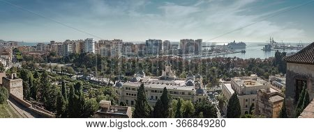 Malaga Spain Wide Panorama Landscape Cityscape And View Of The Port, The Sea, The Bullring And The T