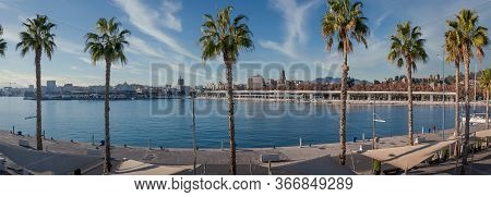 The Port Of Malaga Quay 1 Wide Panorama With Palm Trees With View Of The Malaga Cathedral And The Al