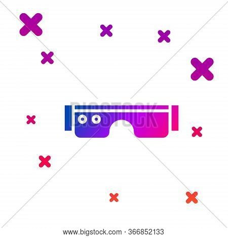Color Smart Glasses Mounted On Spectacles Icon Isolated On White Background. Wearable Electronics Sm