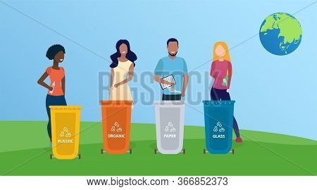 Diverse Beautiful People Sort Garbage And Set An Example For Everyone. Concept Of Save The Planet. S