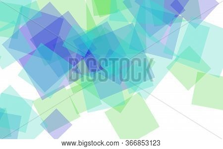Multicolored Translucent Squares On White Background. Green Tones. 3d Illustration