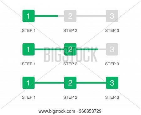 Progress Bar In 3 Steps. Green Square In Flat Design. Steps From 1 To 3. Load Graphic Indicator Of U