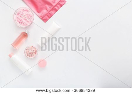 Beauty Spa Medical Skincare Bath Pink White Products Set. Cosmetic Bottles, Tubes, Cream Packaging,