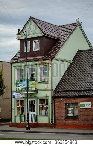 Rokiskis, Lithuania - July 16, 2017: The Old Buildings In The Central Square Of Rokiskis, A Town In