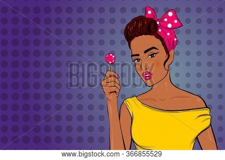 Pop Art Brunette Black African Woman Portrait In Retro Style. Girl Hold Lollipop In Hand. Surprised