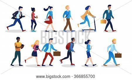 Collection People. International Office Workers. Hurry To Work. Morning Weekdays. Different Races, N