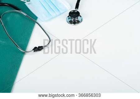 Health Care Template For Text Medicine Treatment Concept. Stethoscope , Background. Empty Blank, Ste
