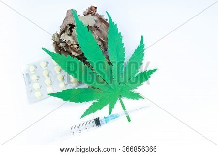 Legality Of Cannabis, Legal And Illegal Cannabis On The World. Law Concept. White Background.