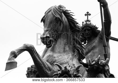 Berlin / Germany - February 18, 2017: Statue Of St. George Slaying The Dragon In Historic Nikolaivie