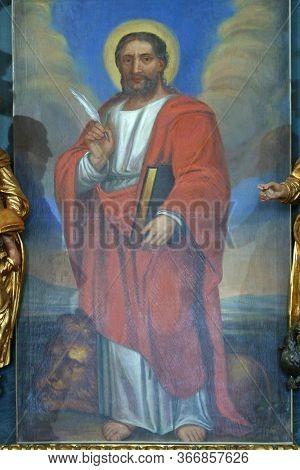 ZAGREB, CROATIA - NOVEMBER 08, 2012: Saint Mark, altarpiece at St. Mark's Church in Jakusevec, Zagreb, Croatia