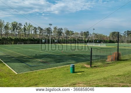 An Empty And Vacant Soccer Field At A Park With All Sports Fields Closed During The Coronavirus Pand