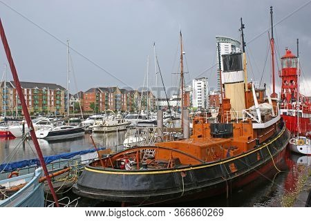 Historic Boats In Swansea Marina In Wales