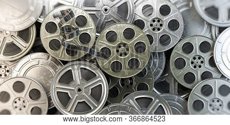 Film reels and cans. Video, movie, cinema concept. 3d illustration