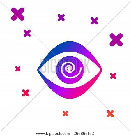 Color Hypnosis Icon Isolated On White Background. Human Eye With Spiral Hypnotic Iris. Gradient Rand