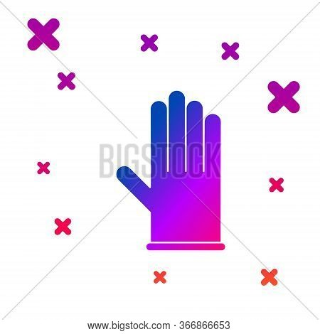 Color Medical Rubber Gloves Icon Isolated On White Background. Protective Rubber Gloves. Gradient Ra
