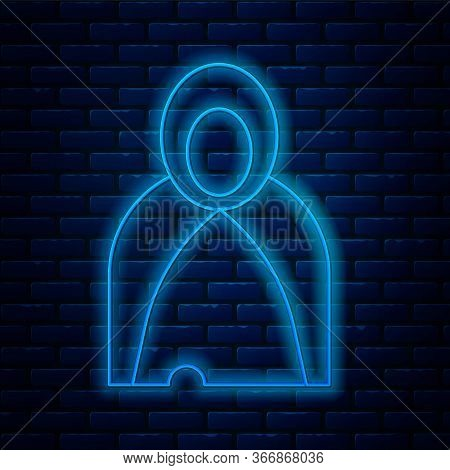 Glowing Neon Line Mantle, Cloak, Cape Icon Isolated On Brick Wall Background. Magic Cloak Of Mage, W