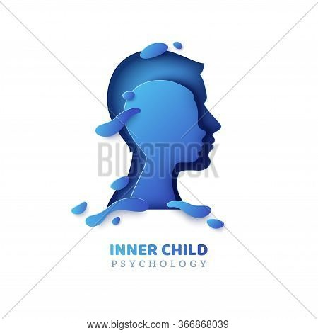 Human Head With Inner Child Inside In Paper Cut Style And Abstract Shapes. Vector Illustration. Psyc