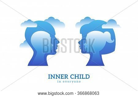 Human Head With Inner Child Inside. Vector Illustration. Psychology Logo Concept. Blue Man And Woman